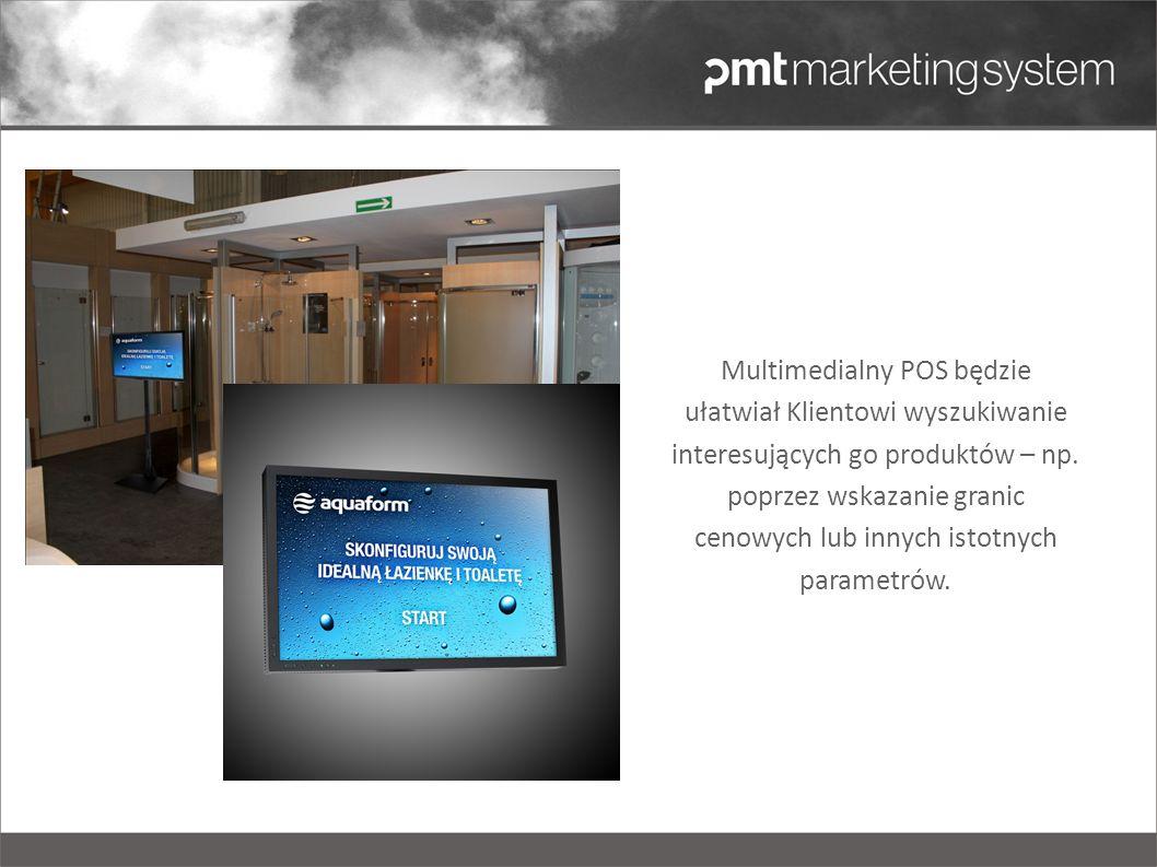 Multimedialny POS będzie ułatwiał Klientowi wyszukiwanie interesujących go produktów – np. poprzez wskazanie granic cenowych lub innych istotnych para