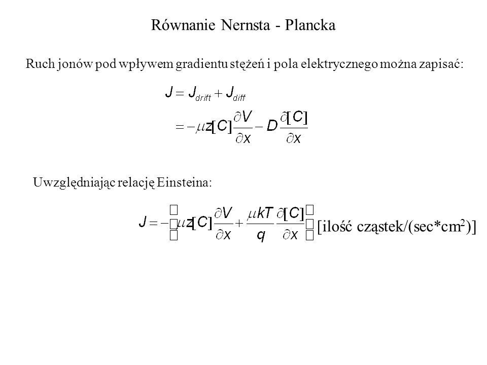 Równanie Nernsta - Plancka Ruch jonów pod wpływem gradientu stężeń i pola elektrycznego można zapisać: Uwzględniając relację Einsteina: [ilość cząstek/(sec*cm 2 )]