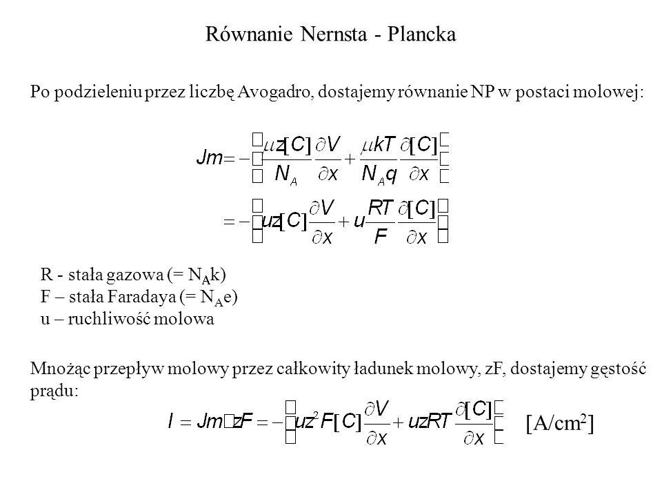 Równanie Nernsta - Plancka Po podzieleniu przez liczbę Avogadro, dostajemy równanie NP w postaci molowej: R - stała gazowa (= k) F – stała Faradaya (= N A e) u – ruchliwość molowa Mnożąc przepływ molowy przez całkowity ładunek molowy, zF, dostajemy gęstość prądu: A/cm 2