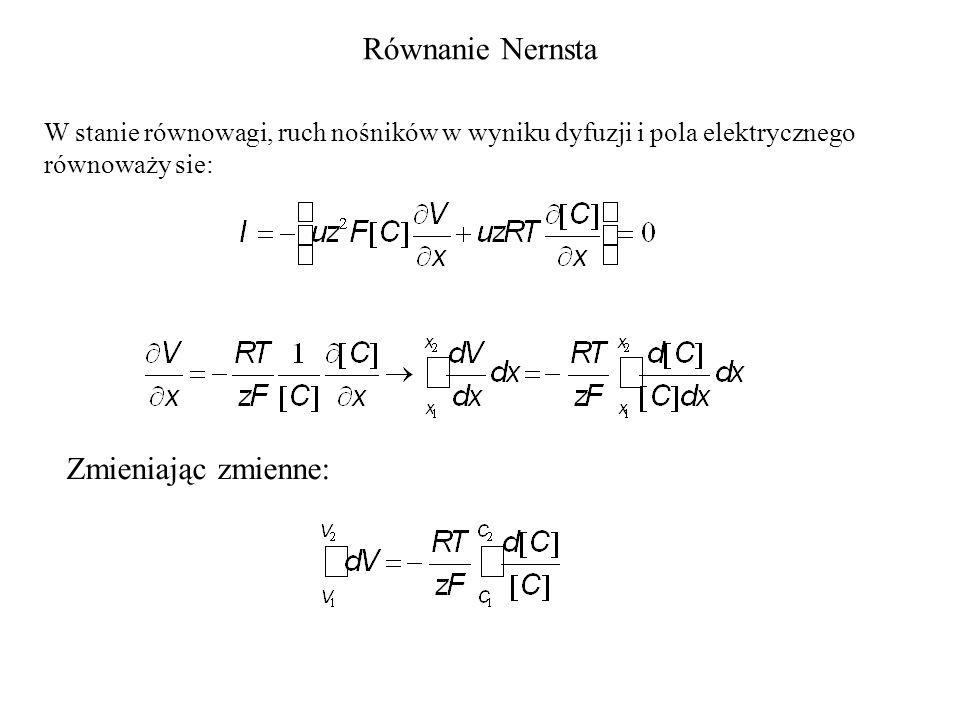Równanie Nernsta W stanie równowagi, ruch nośników w wyniku dyfuzji i pola elektrycznego równoważy sie: Zmieniając zmienne: