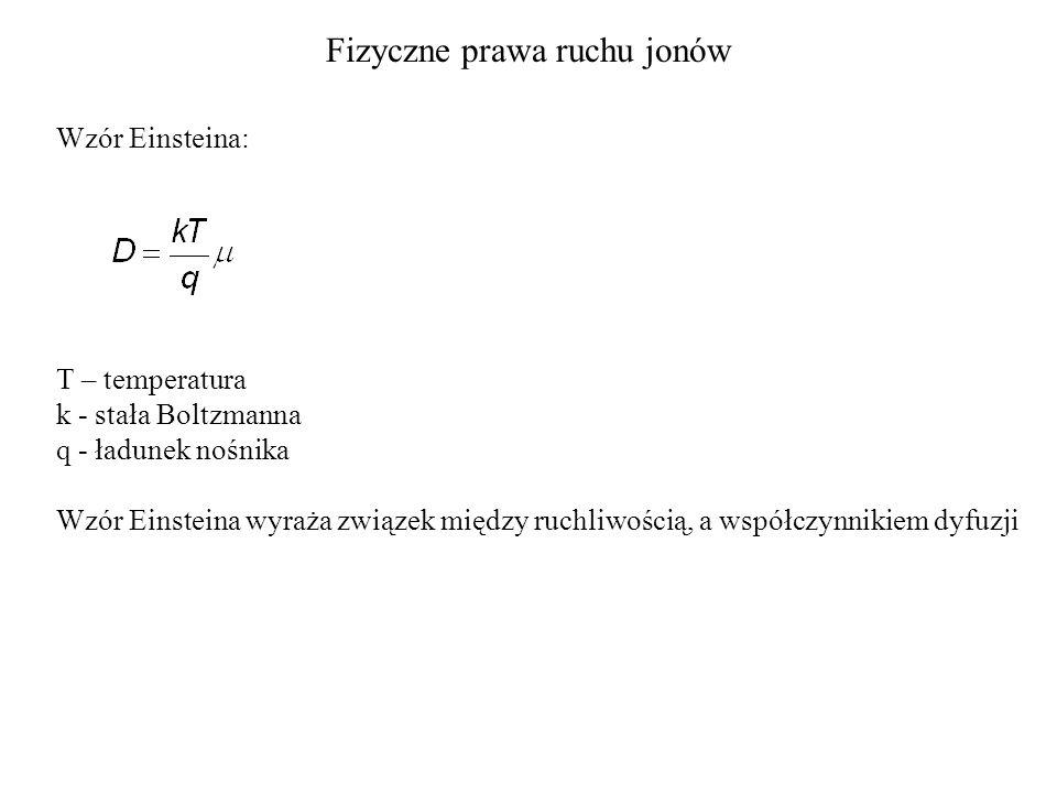 Fizyczne prawa ruchu jonów Wzór Einsteina: T – temperatura k - stała Boltzmanna q - ładunek nośnika Wzór Einsteina wyraża związek między ruchliwością, a współczynnikiem dyfuzji