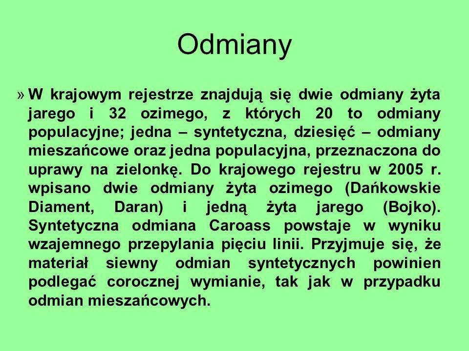 Odmiany »W krajowym rejestrze znajdują się dwie odmiany żyta jarego i 32 ozimego, z których 20 to odmiany populacyjne; jedna – syntetyczna, dziesięć –