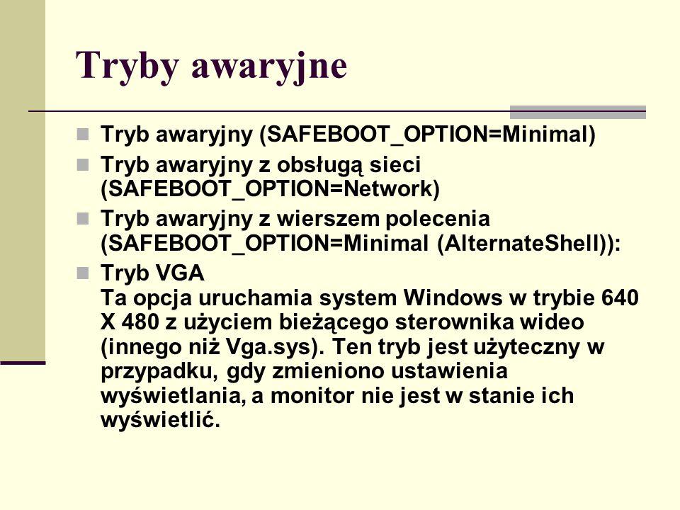 Tryby awaryjne Tryb awaryjny (SAFEBOOT_OPTION=Minimal) Tryb awaryjny z obsługą sieci (SAFEBOOT_OPTION=Network) Tryb awaryjny z wierszem polecenia (SAF