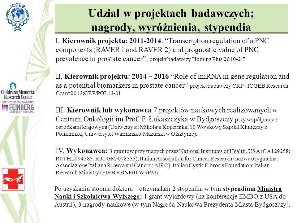 Udział w projektach badawczych; nagrody, wyróżnienia, stypendia I. Kierownik projektu: 2011-2014: Transcription regulation of a PNC components (RAVER