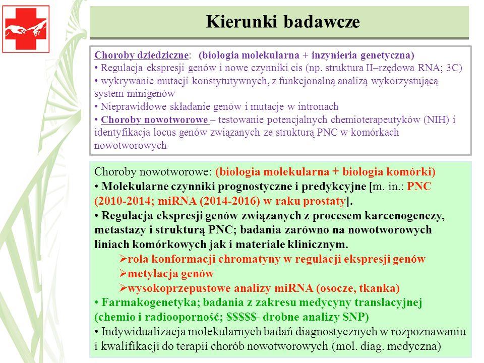 Choroby nowotworowe: (biologia molekularna + biologia komórki) Molekularne czynniki prognostyczne i predykcyjne [m. in.: PNC (2010-2014; miRNA (2014-2