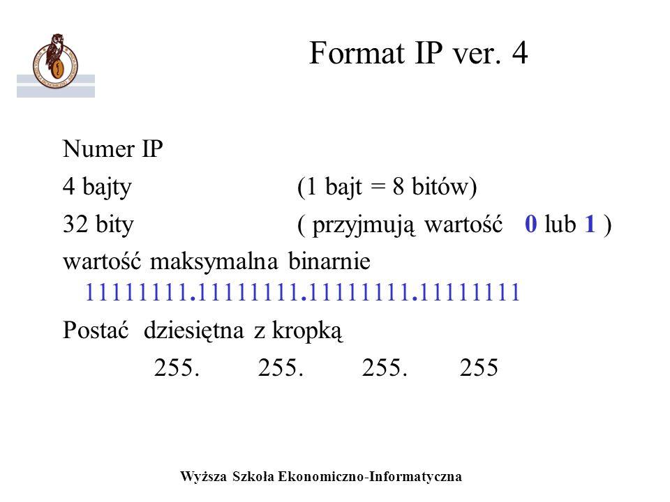 Wyższa Szkoła Ekonomiczno-Informatyczna Format IP ver. 4 Numer IP 4 bajty (1 bajt = 8 bitów) 32 bity( przyjmują wartość 0 lub 1 ) wartość maksymalna b