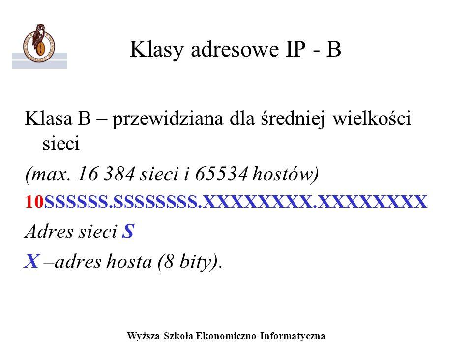 Wyższa Szkoła Ekonomiczno-Informatyczna Klasy adresowe IP - B Klasa B – przewidziana dla średniej wielkości sieci (max. 16 384 sieci i 65534 hostów) 1