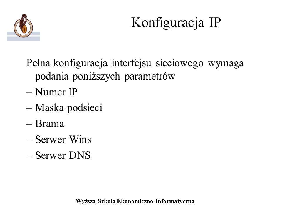 Wyższa Szkoła Ekonomiczno-Informatyczna Konfiguracja IP Pełna konfiguracja interfejsu sieciowego wymaga podania poniższych parametrów –Numer IP –Maska