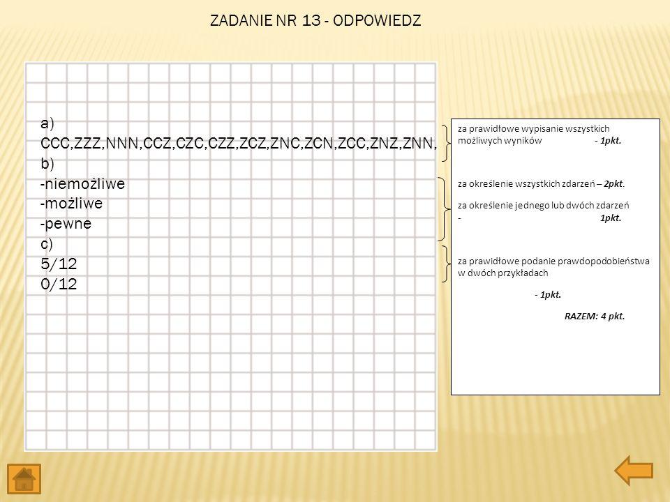 a) CCC,ZZZ,NNN,CCZ,CZC,CZZ,ZCZ,ZNC,ZCN,ZCC,ZNZ,ZNN, b) -niemożliwe -możliwe -pewne c) 5/12 0/12 za prawidłowe wypisanie wszystkich możliwych wyników -