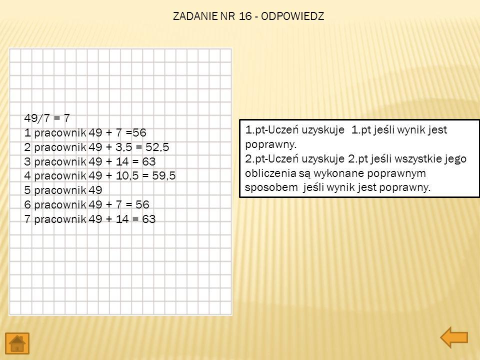 49/7 = 7 1 pracownik 49 + 7 =56 2 pracownik 49 + 3,5 = 52,5 3 pracownik 49 + 14 = 63 4 pracownik 49 + 10,5 = 59,5 5 pracownik 49 6 pracownik 49 + 7 =