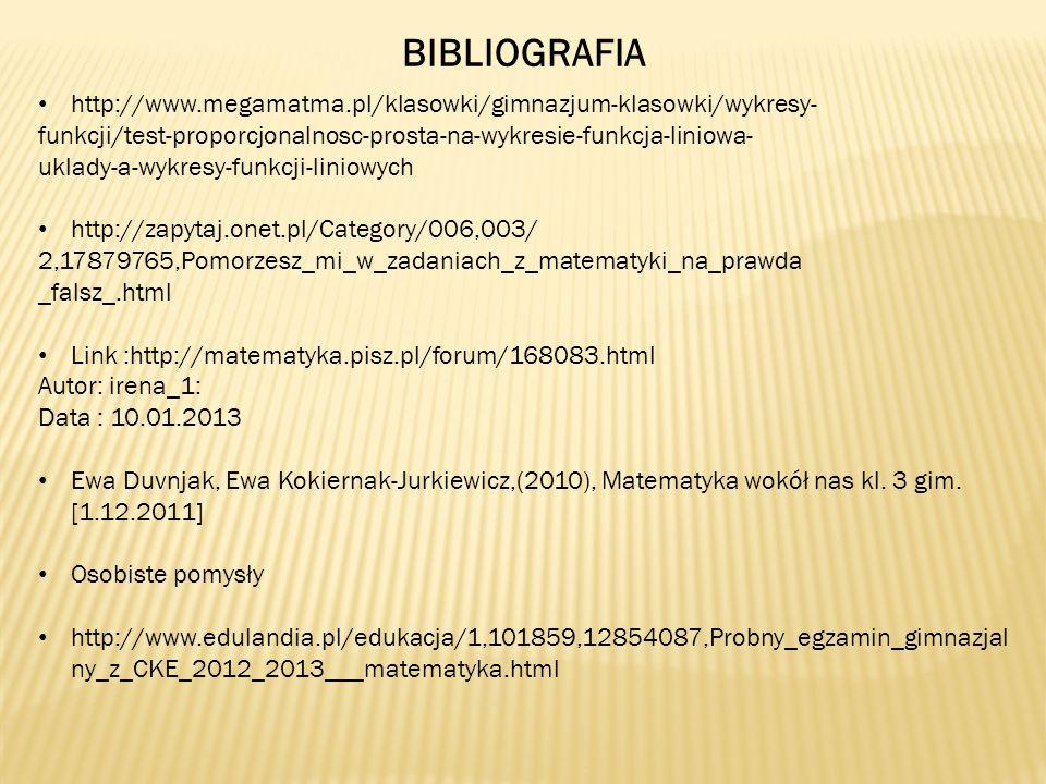 BIBLIOGRAFIA http://www.megamatma.pl/klasowki/gimnazjum-klasowki/wykresy- funkcji/test-proporcjonalnosc-prosta-na-wykresie-funkcja-liniowa- uklady-a-w