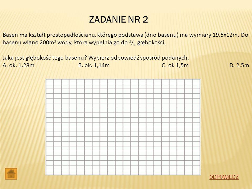 ZADANIE NR 2 Basen ma kształt prostopadłościanu, którego podstawa (dno basenu) ma wymiary 19.5x12m. Do basenu wlano 200m 3 wody, która wypełnia go do