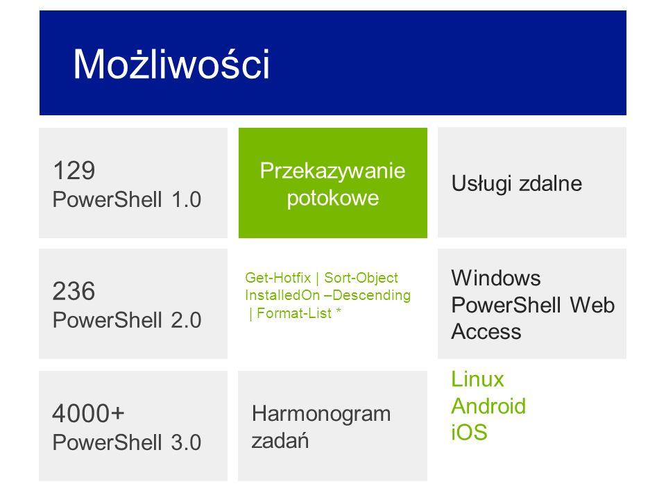 Windows PowerShell Web Access Możliwości 129 PowerShell 1.0 Harmonogram zadań Usługi zdalne Przekazywanie potokowe Get-Hotfix | Sort-Object InstalledO