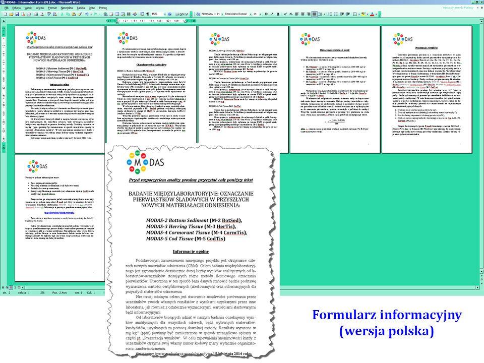 Formularz MODAS - Analytical Results.xls przeznaczony do zamieszczenia uzyskanych wyników analitycznych