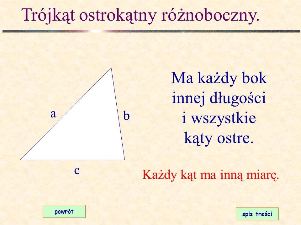 Klasyfikacja trójkątów Jeśli chcesz zobaczyć rysunek kliknij na odpowiedni prostokąt. poprzedninastępnyspis treści ostrokątny różnoboczny ostrokątny r