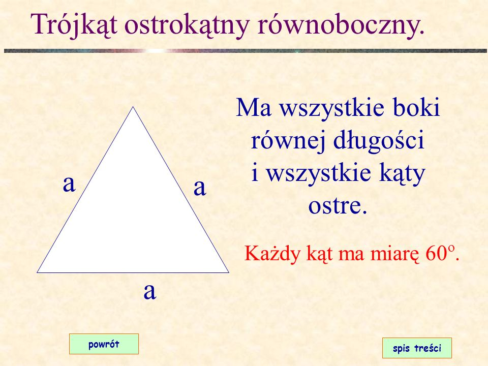 Trójkąt ostrokątny równoramienny. spis treści powrót Ma dwa boki równej długości i wszystkie kąty ostre. ramię Kąty przy podstawie mają równe miary. p