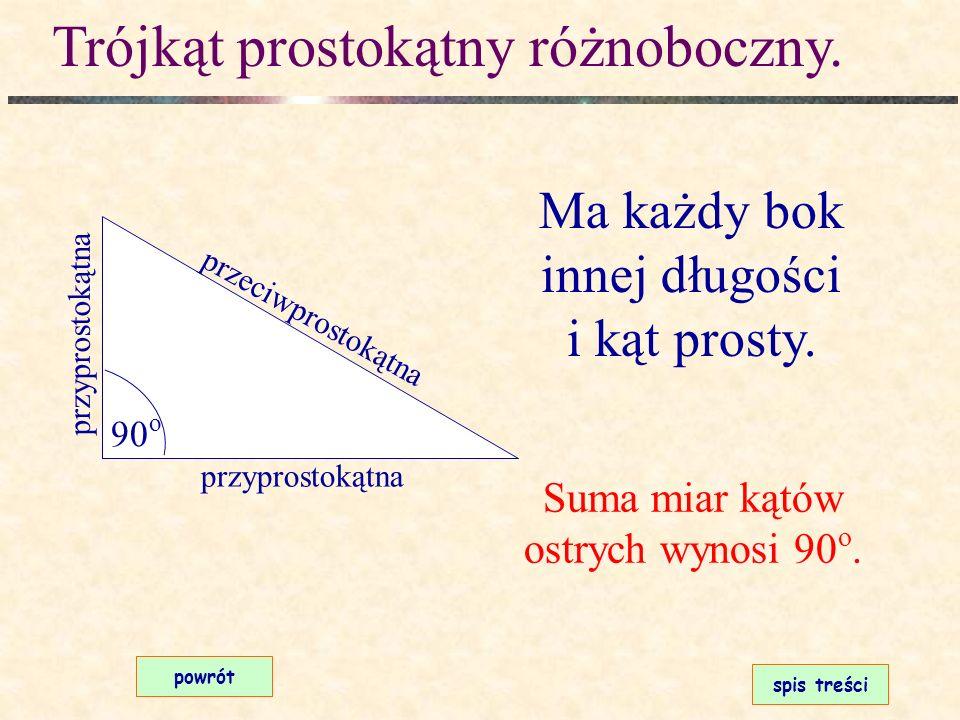 Trójkąt ostrokątny równoboczny. spis treści powrót Ma wszystkie boki równej długości i wszystkie kąty ostre. a a a Każdy kąt ma miarę 60 o.