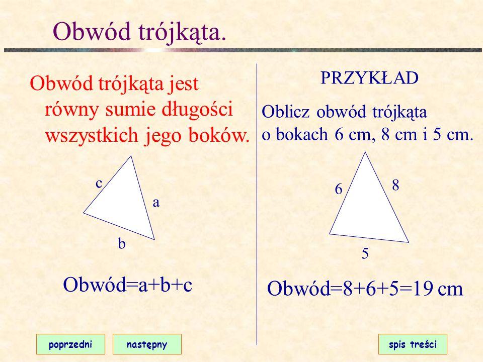 Suma kątów trójkąta. poprzedninastępnyspis treści W każdym trójkącie suma miar kątów wewnętrznych wynosi 180 o. ZASTOSOWANIE Oblicz miarę kąta