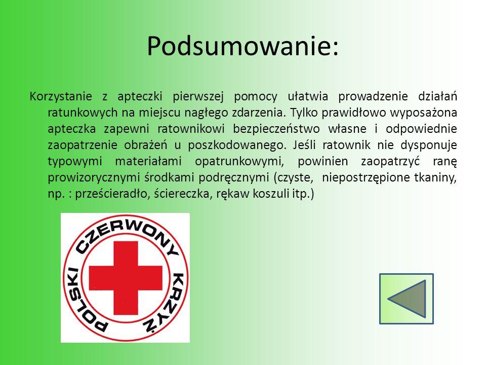 Podsumowanie: Korzystanie z apteczki pierwszej pomocy ułatwia prowadzenie działań ratunkowych na miejscu nagłego zdarzenia. Tylko prawidłowo wyposażon