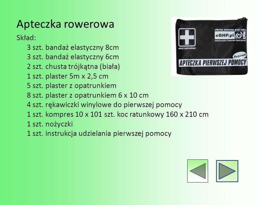 Apteczka rowerowa Skład: 3 szt. bandaż elastyczny 8cm 3 szt. bandaż elastyczny 6cm 2 szt. chusta trójkątna (biała) 1 szt. plaster 5m x 2,5 cm 5 szt. p