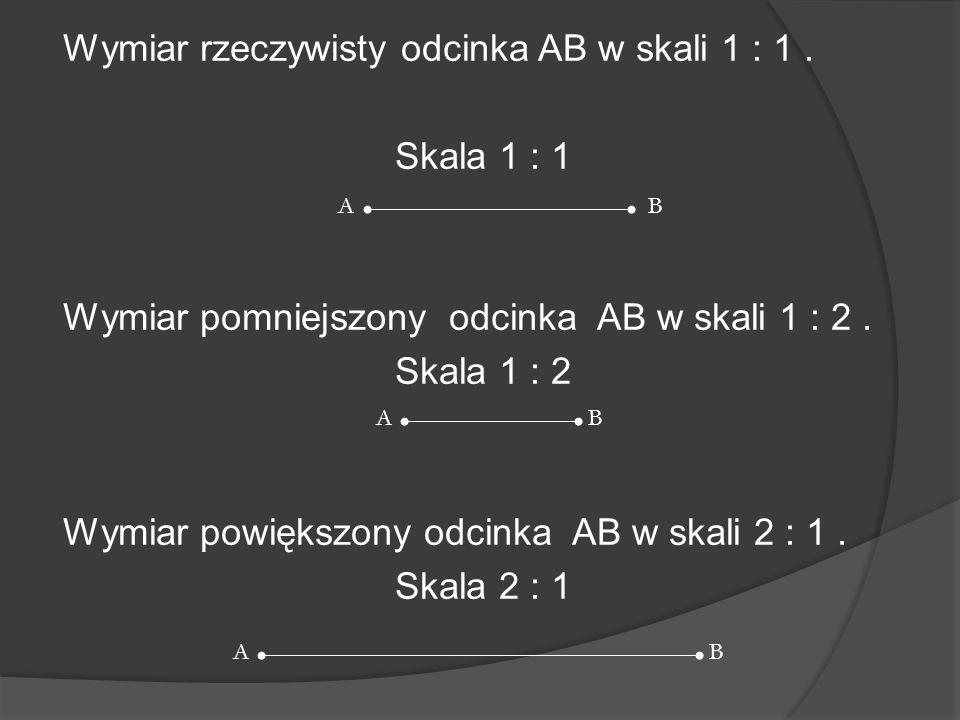 Wymiar rzeczywisty odcinka AB w skali 1 : 1. Skala 1 : 1 Wymiar pomniejszony odcinka AB w skali 1 : 2. Skala 1 : 2 Wymiar powiększony odcinka AB w ska