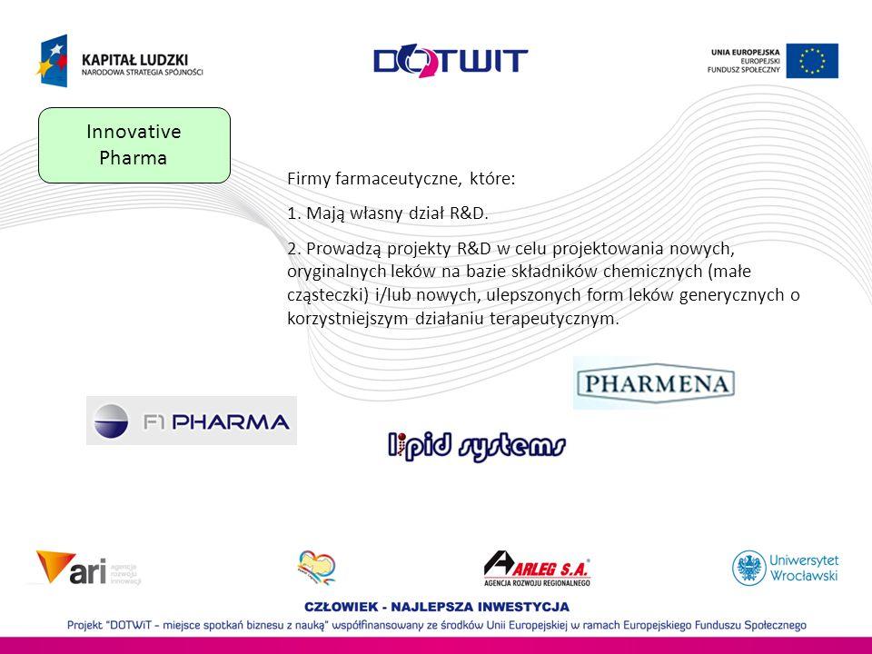 Innovative Pharma Firmy farmaceutyczne, które: 1.Mają własny dział R&D.