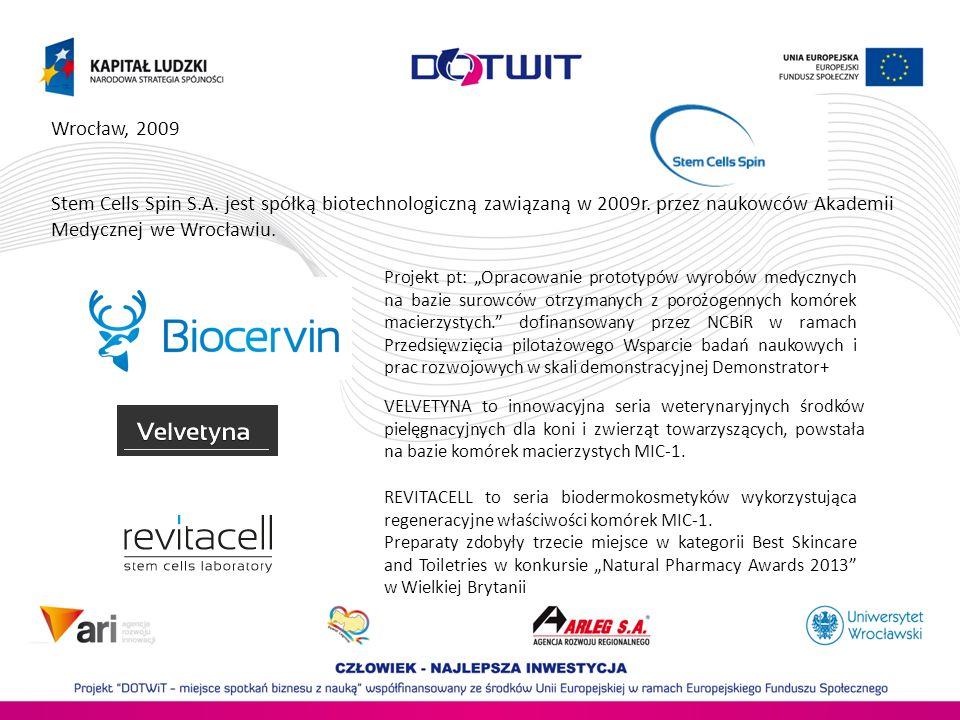 Wrocław, 2009 Stem Cells Spin S.A.jest spółką biotechnologiczną zawiązaną w 2009r.