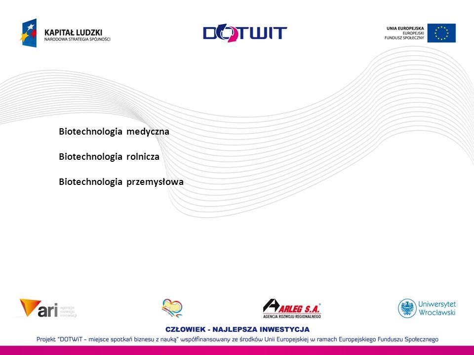 Biotechnologia medyczna Biotechnologia rolnicza Biotechnologia przemysłowa