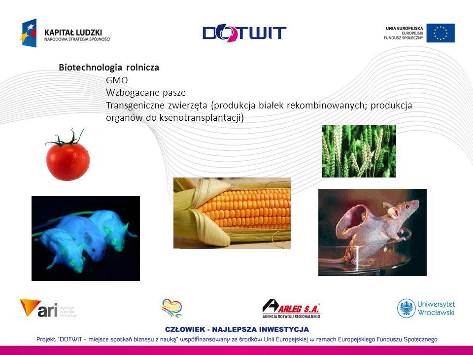 Biotechnologia rolnicza GMO Wzbogacane pasze Transgeniczne zwierzęta (produkcja białek rekombinowanych; produkcja organów do ksenotransplantacji)