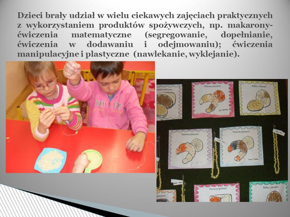 Dzieci brały udział w wielu ciekawych zajęciach praktycznych z wykorzystaniem produktów spożywczych, np. makarony- ćwiczenia matematyczne (segregowani