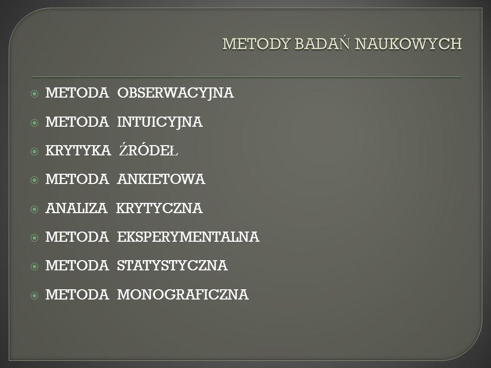 METODA OBSERWACYJNA METODA INTUICYJNA KRYTYKA Ź RÓDE Ł METODA ANKIETOWA ANALIZA KRYTYCZNA METODA EKSPERYMENTALNA METODA STATYSTYCZNA METODA MONOGRAFICZNA