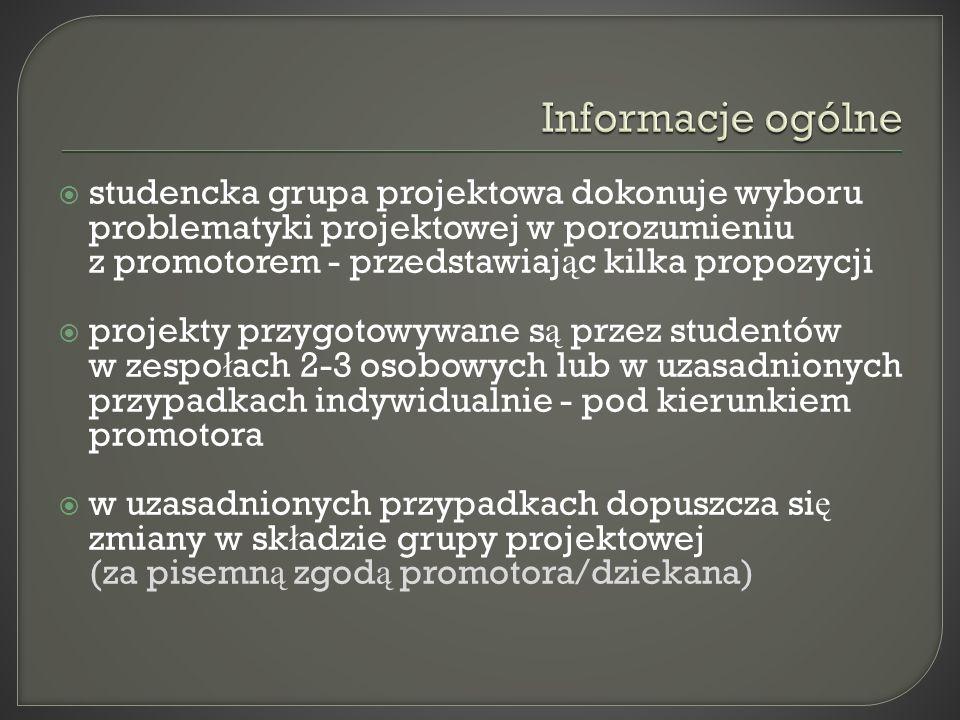 tryb prac nad projektem zatwierdza promotor oceny projektu dokonuje promotor i recenzent zgodnie z przyj ę tymi kryteriami ś rednia arytmetyczna ocen projektu dyplomowego (promotora i recenzenta) stanowi 20% ostatecznego wyniku studiów wpisanego na dyplomie