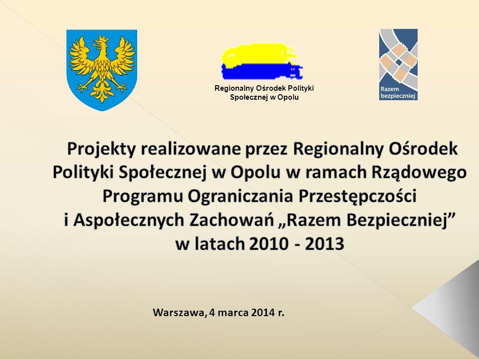 Projekt pn.Opolskie Przeciw Przemocy 2010 r. Obszar działania: 4.1.A.