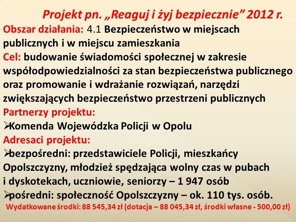 Projekt pn. Reaguj i żyj bezpiecznie 2012 r. Obszar działania: 4.1 Bezpieczeństwo w miejscach publicznych i w miejscu zamieszkania Cel: budowanie świa