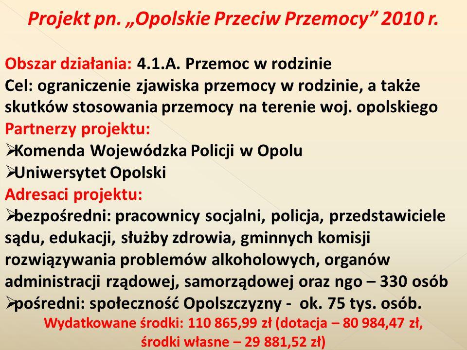 Projekt pn. Opolskie Przeciw Przemocy 2010 r. Obszar działania: 4.1.A. Przemoc w rodzinie Cel: ograniczenie zjawiska przemocy w rodzinie, a także skut