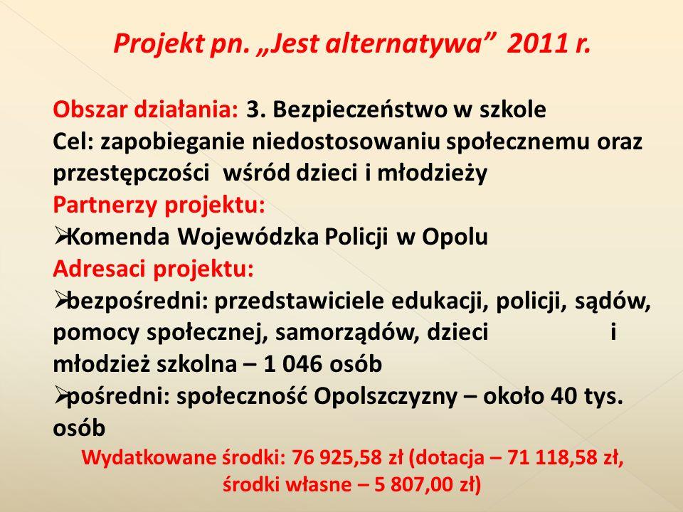Projekt pn. Jest alternatywa 2011 r. Obszar działania: 3. Bezpieczeństwo w szkole Cel: zapobieganie niedostosowaniu społecznemu oraz przestępczości wś