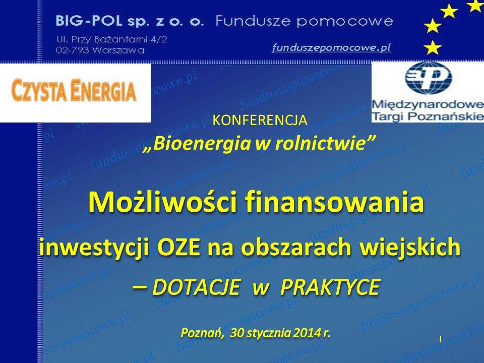 PROGRAM OPERACYJNY INFRASTRUKTURA i ŚRODOWISKO I: Promocja odnawialnych źródeł energii i efektywności energetycznej - 1,3 (MG i NFOŚiGW) 4.1 Wspieranie wytwarzania i dystrybucji energii pochodzącej ze źródeł odnawialnych Promowanie efektywności energetycznej i wykorzystania OZE przez przedsiębiors 4.2 Promowanie efektywności energetycznej i wykorzystania OZE przez przedsiębiorstwa 4.3 Wspieranie efektywności energetycznej i wykorzystywania OZE w sektorze publicznym 4.4 Rozwój i wdrażanie inteligentnych systemów dystrybucji na niskich i średnich poziomach nap.