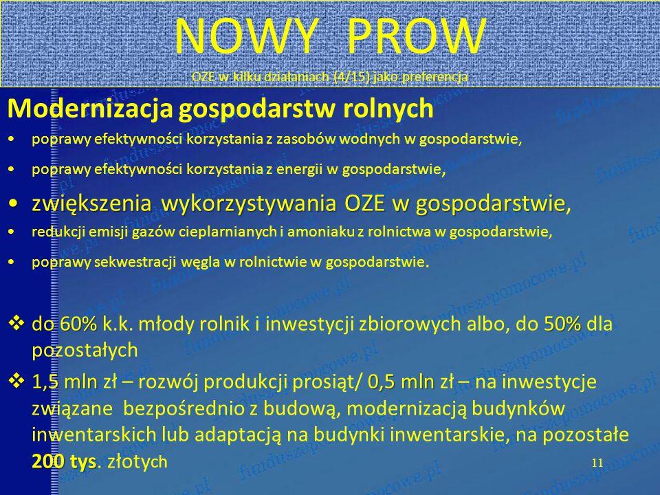 NOWY PROW OZE w kilku działaniach (4/15) jako preferencja Modernizacja gospodarstw rolnych poprawy efektywności korzystania z zasobów wodnych w gospod
