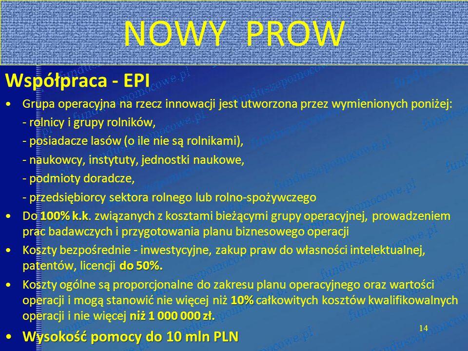 NOWY PROW Współpraca - EPI Grupa operacyjna na rzecz innowacji jest utworzona przez wymienionych poniżej: - rolnicy i grupy rolników, - posiadacze las