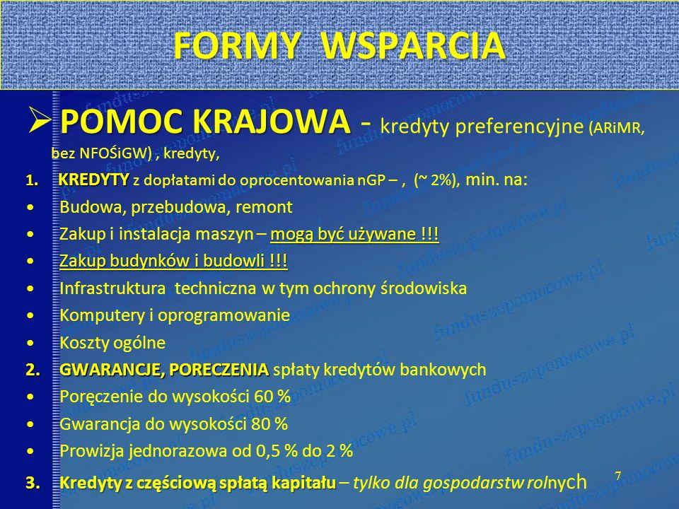 FORMY WSPARCIA POMOC KRAJOWA POMOC KRAJOWA - kredyty preferencyjne (ARiMR, bez NFOŚiGW), kredyty, 1. KREDYTY 1. KREDYTY z dopłatami do oprocentowania