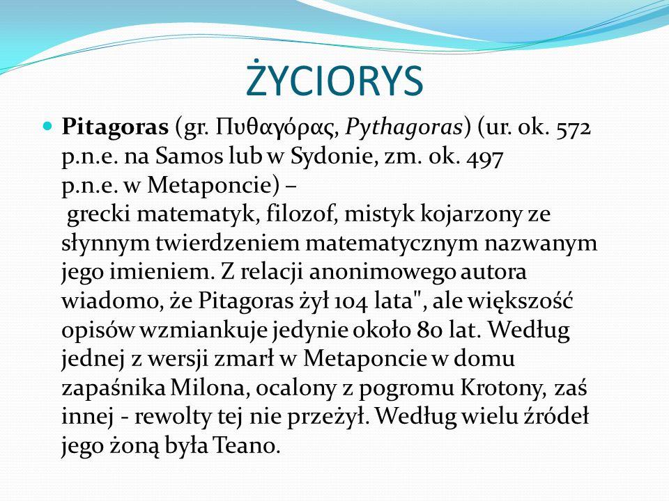 SZKOŁA PITAGOREJCZYKÓW Założył w Krotonie szkołę pitagorejczyków w roku 529 p.n.e., będąc m.in.