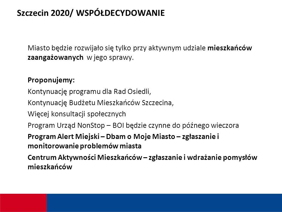 Szczecin 2020/ WSPÓŁDECYDOWANIE Miasto będzie rozwijało się tylko przy aktywnym udziale mieszkańców zaangażowanych w jego sprawy.