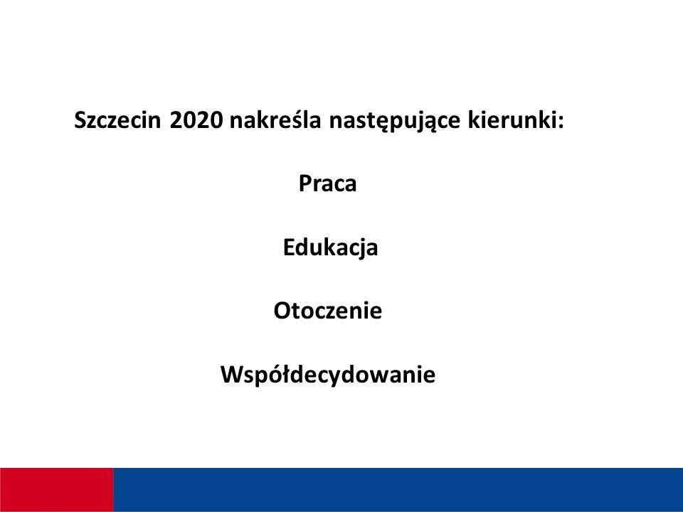Szczecin 2020 nakreśla następujące kierunki: Praca Edukacja Otoczenie Współdecydowanie
