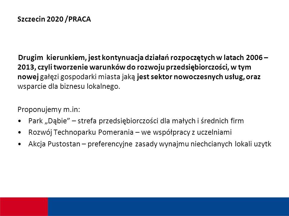 Szczecin 2020 /PRACA Drugim kierunkiem, jest kontynuacja działań rozpoczętych w latach 2006 – 2013, czyli tworzenie warunków do rozwoju przedsiębiorczości, w tym nowej gałęzi gospodarki miasta jaką jest sektor nowoczesnych usług, oraz wsparcie dla biznesu lokalnego.