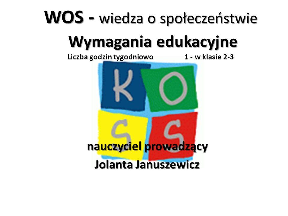 WOS - wiedza o społeczeństwie Wymagania edukacyjne WOS - wiedza o społeczeństwie Wymagania edukacyjne Liczba godzin tygodniowo 1 - w klasie 2-3 nauczy