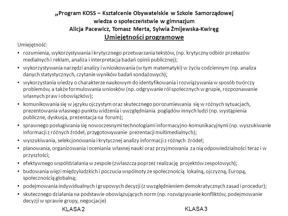 Program KOSS – Kształcenie Obywatelskie w Szkole Samorządowej wiedza o społeczeństwie w gimnazjum Alicja Pacewicz, Tomasz Merta, Sylwia Żmijewska-Kwir