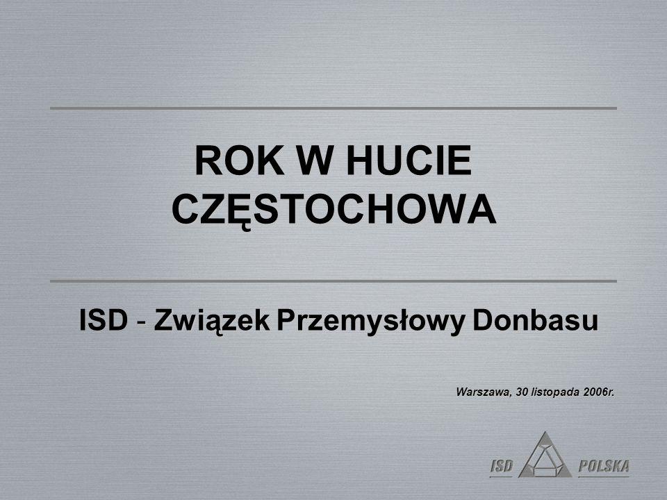 ROK W HUCIE CZĘSTOCHOWA - Związek Przemysłowy Donbasu ISD - Związek Przemysłowy Donbasu Warszawa, 30 listopada 2006r.