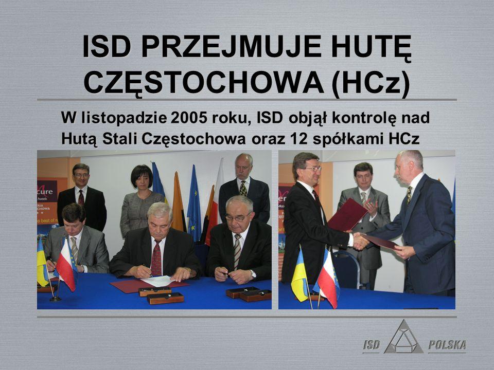 ISD PRZEJMUJE HUTĘ CZĘSTOCHOWA (HCz) W listopadzie 2005 roku, ISD objął kontrolę nad Hutą Stali Częstochowa oraz 12 spółkami HCz