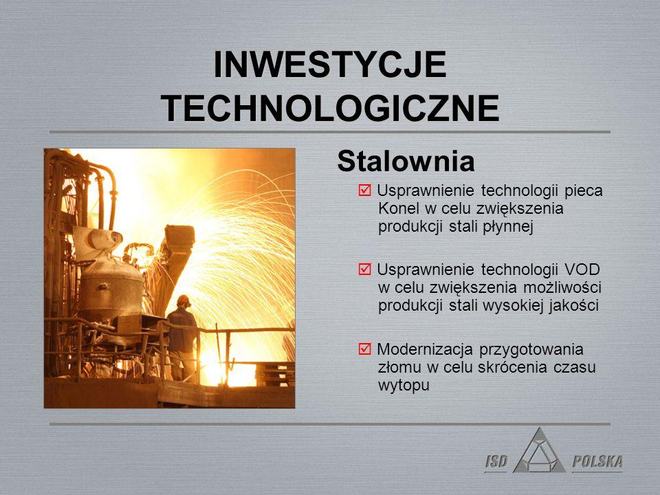 INWESTYCJE TECHNOLOGICZNE Stalownia Usprawnienie technologii pieca Konel w celu zwiększenia produkcji stali płynnej Usprawnienie technologii VOD w celu zwiększenia możliwości produkcji stali wysokiej jakości Modernizacja przygotowania złomu w celu skrócenia czasu wytopu