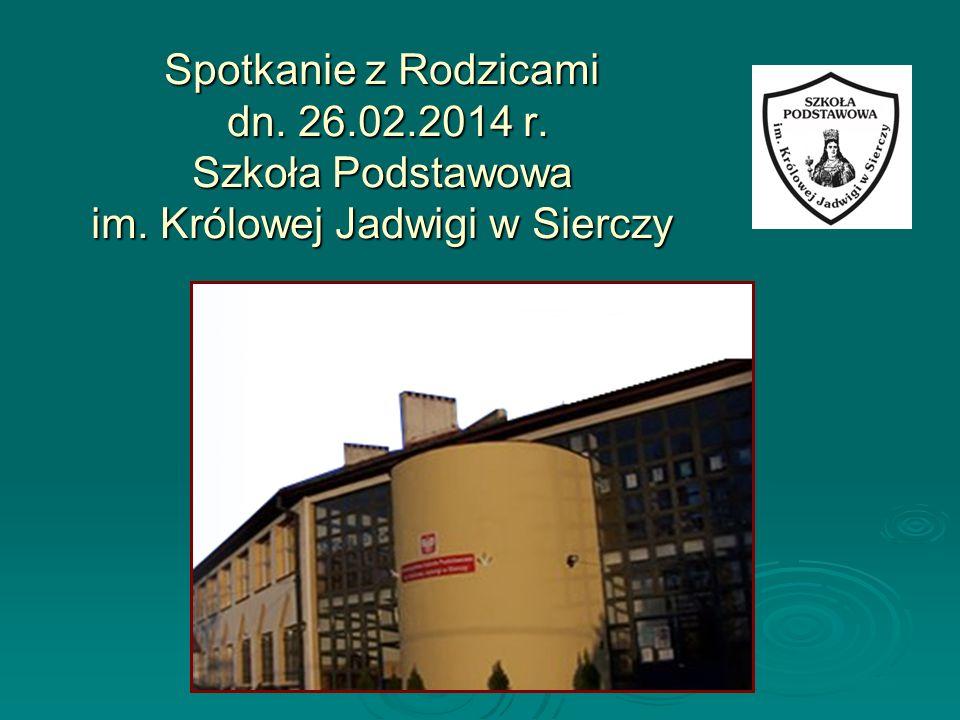 Spotkanie z Rodzicami dn. 26.02.2014 r. Szkoła Podstawowa im. Królowej Jadwigi w Sierczy